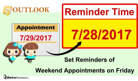 Auto Set the Reminders of Weekend Appointments on Previous Friday in Outlook