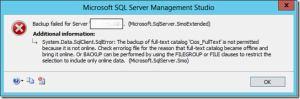 Backup Failure In SQL Server