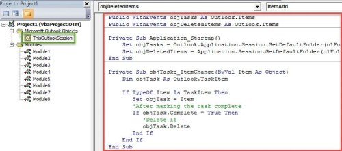VBA Code - Auto Delete an Outlook Task after Marking It Complete