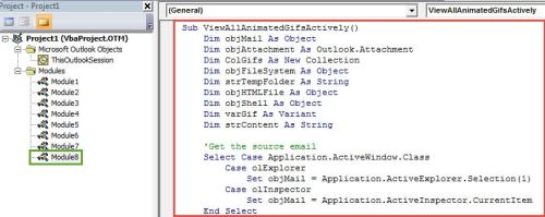 VBA Code - View All Embedded Animated Gif Images of an Email in Animated Form