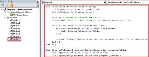 "VBA Code - Batch Disable ""AutoArchive"" Option for All Outlook Folders"