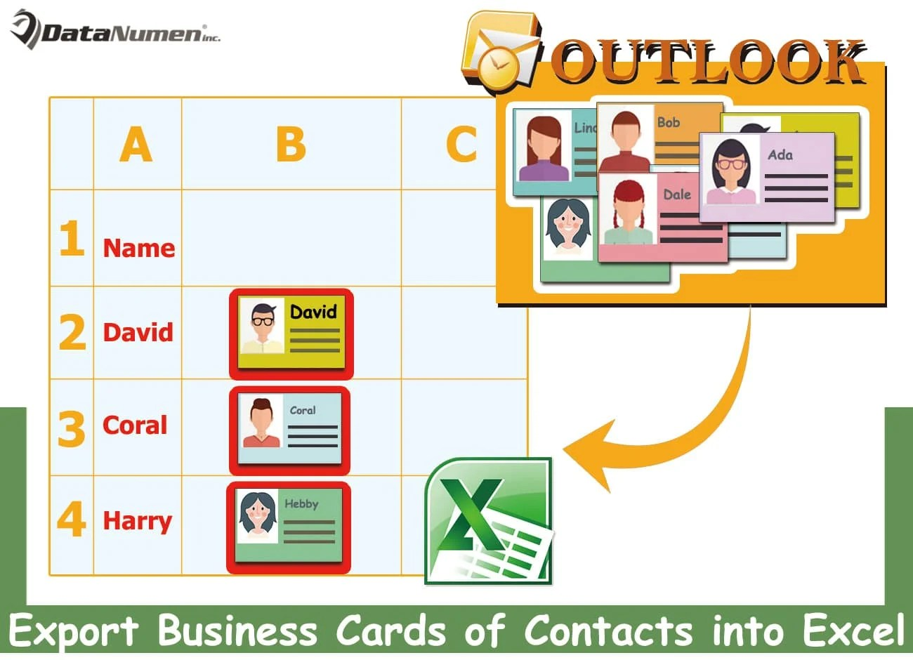 Quickly Export the Business Cards of Outlook Contacts into an Excel Worksheet