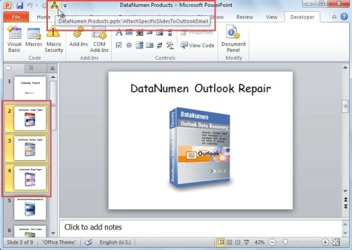 How to Quickly Attach the Specific Slides of a PowerPoint