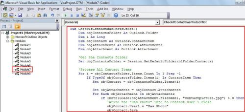 VBA Code - Find the Contacts without a Photo