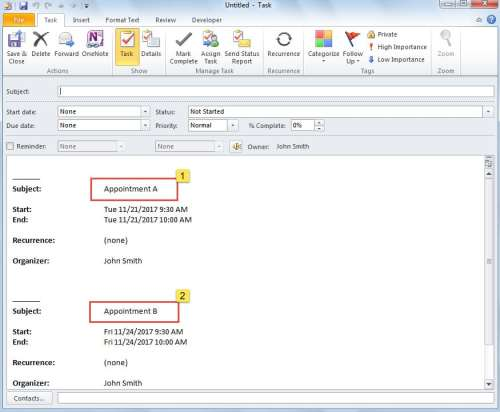 Merged Appointments in One Task