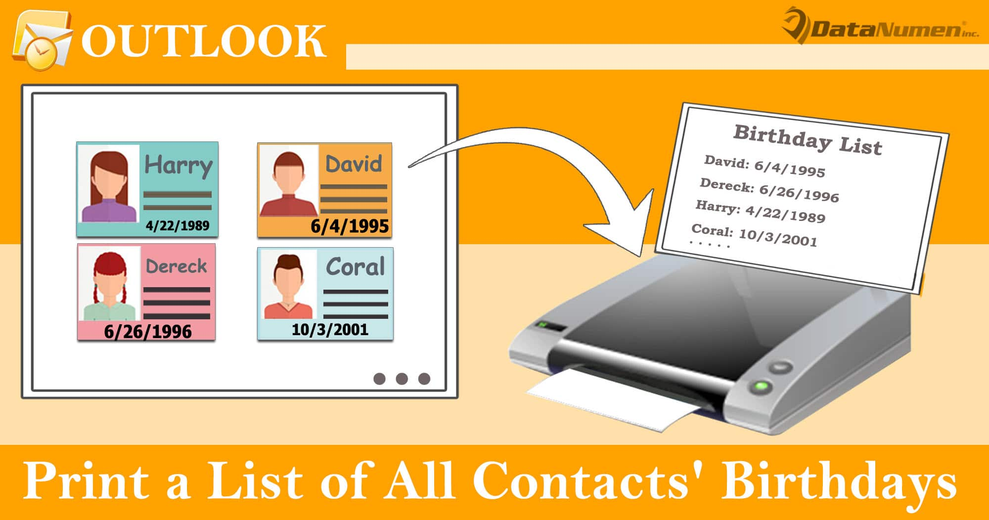 Quickly Print a List of All Contacts' Birthdays in Your Outlook