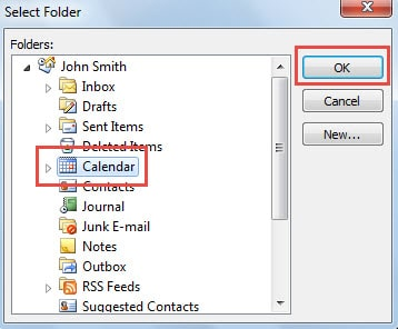 Select Source Calendar