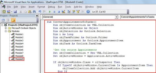 VBA Code - Batch Convert Multiple Appointments to Tasks