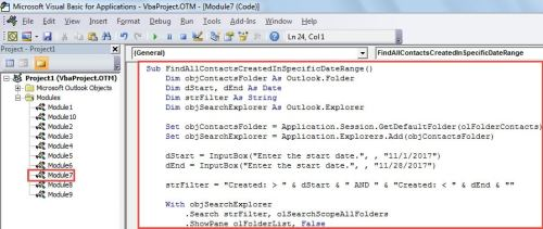 VBA Code - Find All Contacts Added in a Specific Date Range