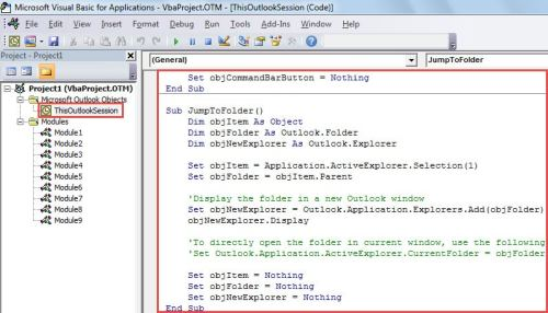 VBA Code - Jump to the Folder of a Found Item in Search Results