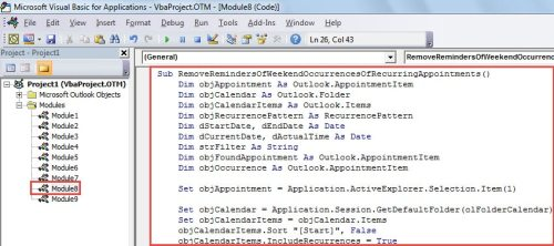 VBA Code - Remove the Reminders from Weekend Occurrences of a Recurring Appointment