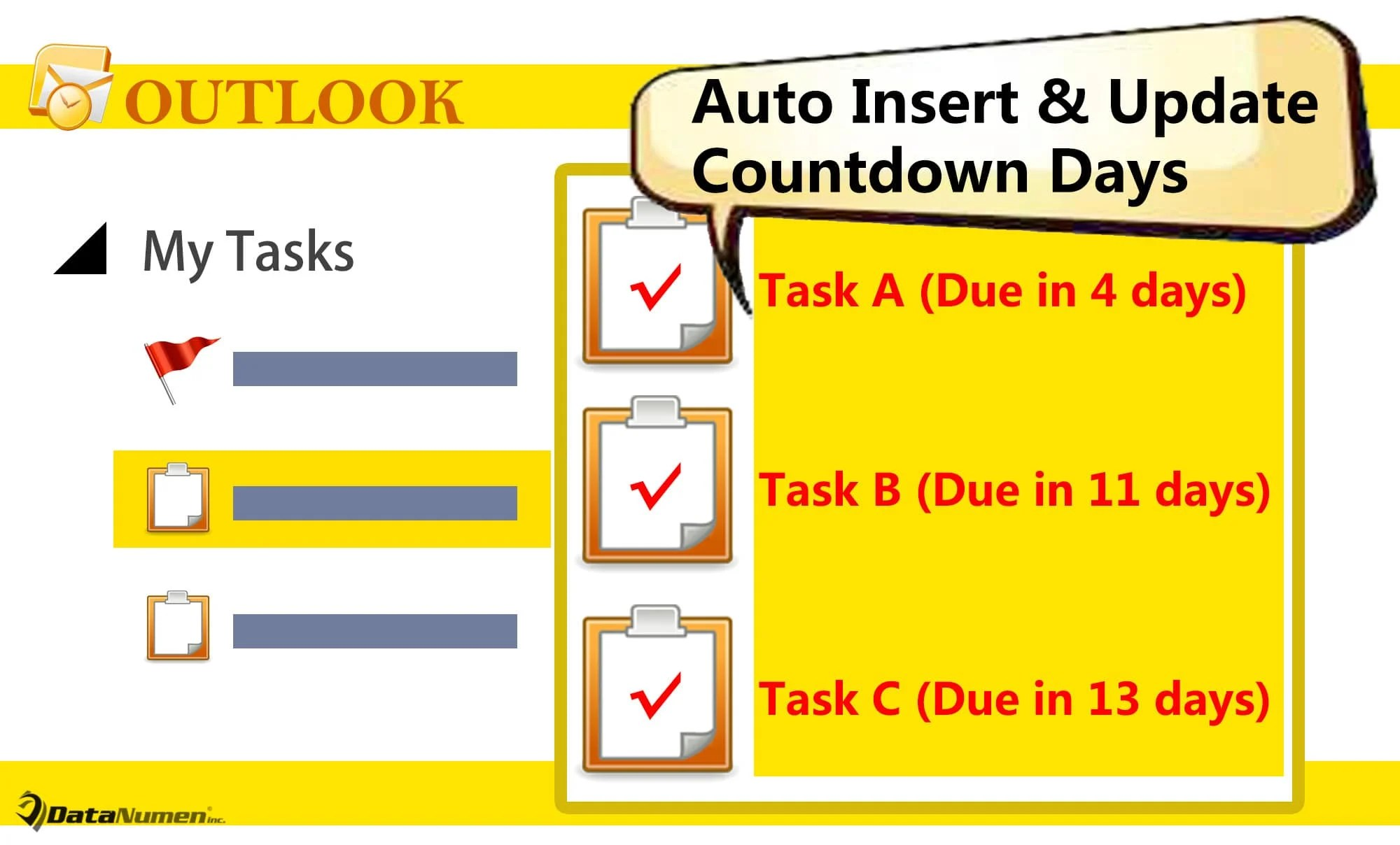 Auto Insert & Update Countdown Days in Outlook Tasks' Subjects