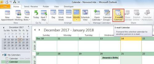 E-mail Calendar