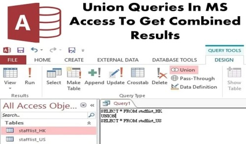 Union Queries In MS Access To Get Combine Results