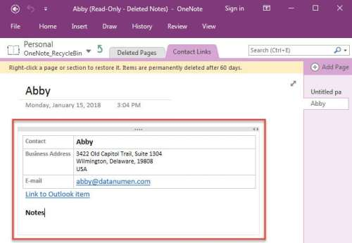 Contact Link in OneNote