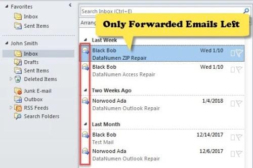 Only Forwarded Emails Left in Current Folder