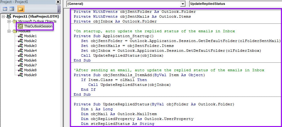VBA Code - Auto Update Replied Status of Emails