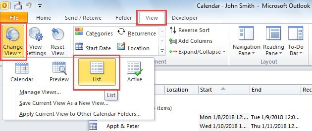 Change to List View