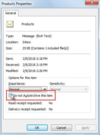 """""""Do not AutoArchive this item"""" Option"""