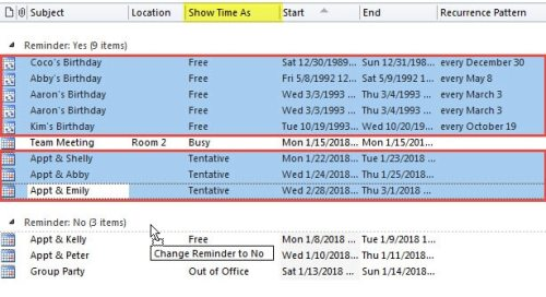 2 Ways to Batch Remove Reminders from All Free or Tentative