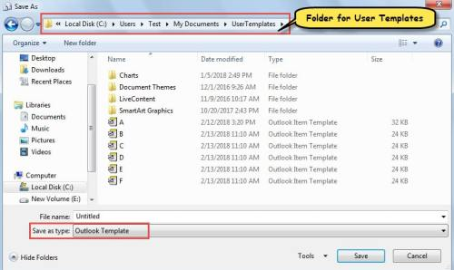 Open Default Folder for User Templates