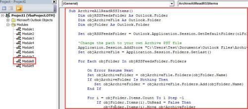 VBA Code - Archive All Read RSS Items