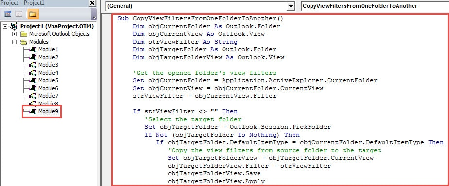 VBA Code - Copy View Filters from One Outlook Folder to Another