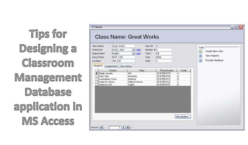 6 Tips For Designing A Classroom Management Database Application In MS Access