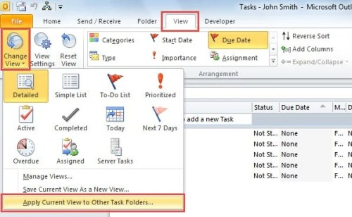 Apply Current View to Other Task Folders