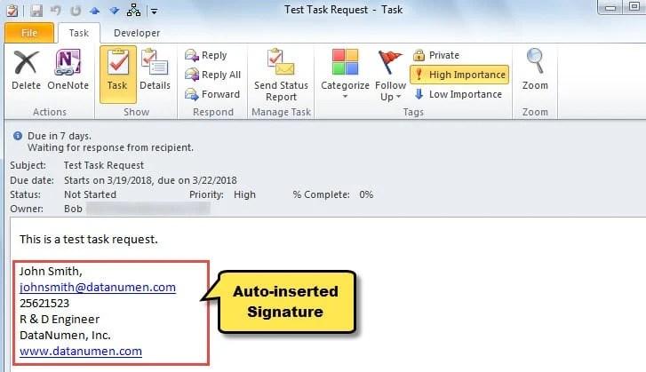 Auto-inserted Signature in Task Requests