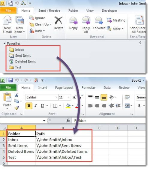 Backed up Folder List in Excel