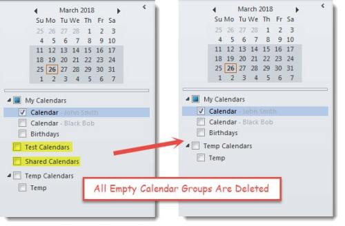 Empty Calendar Groups Are Deleted