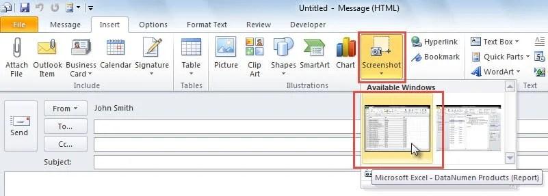 Insert Screenshot in Email