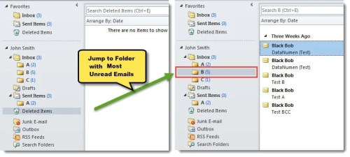 how to find 1 unread email in outlook