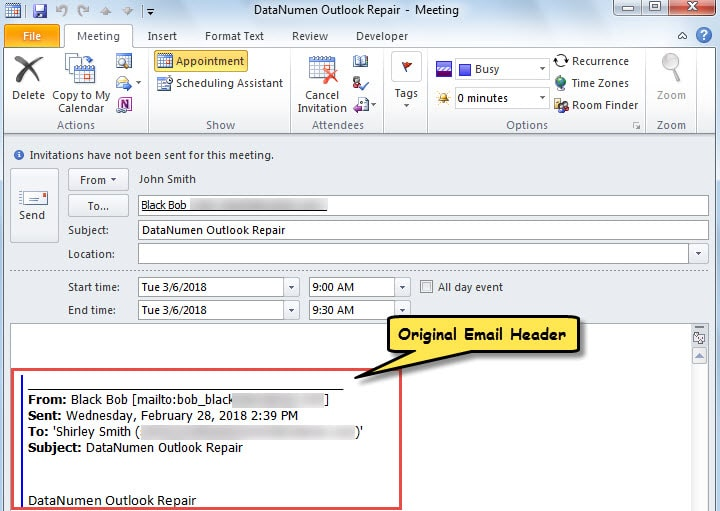 Meeting with Original Email Header