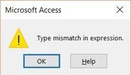 Type Mismatch Error In MS Access