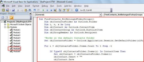 VBA Code - Find All Contacts Not Belonging to Any Contact Groups