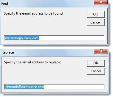Specify Email Address for Find and Replace