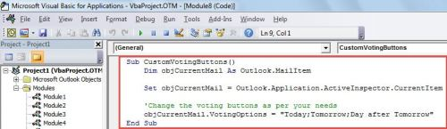 VBA Code - Add Custom Voting Buttons to Mail
