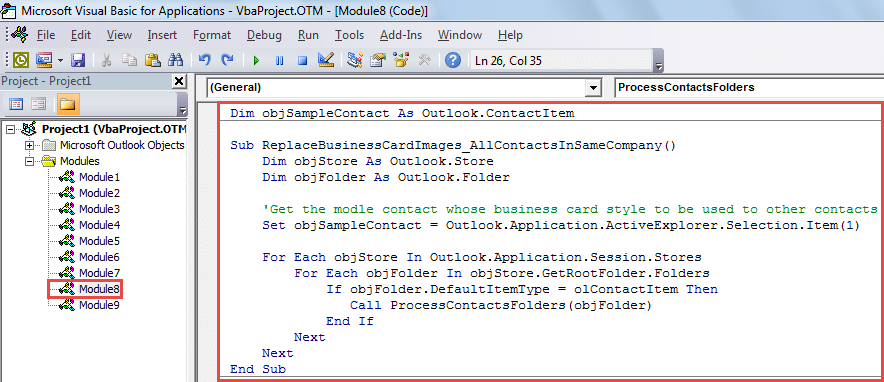 VBA Code - Batch Replace the Images in the Business Cards of All Contacts in the Same Company