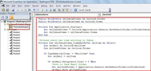 VBA Code - Auto Block or Delete the Incoming Emails without Recipients