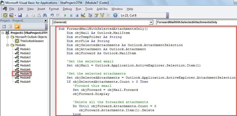 VBA Code - Quickly Forward an Email with Selected Attachments Only