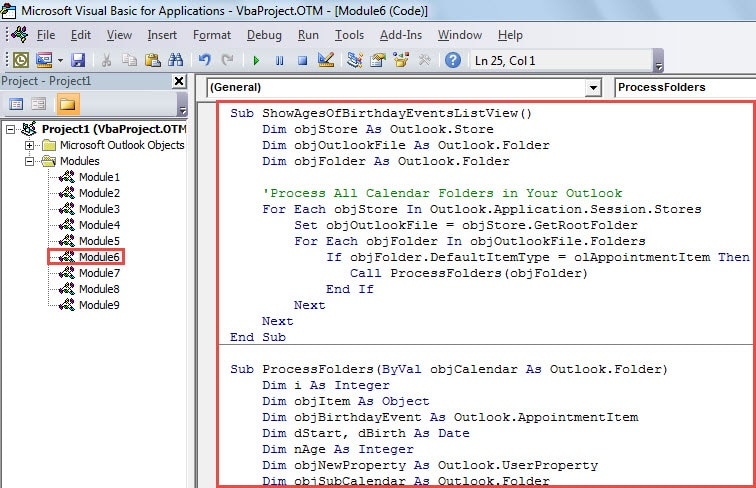 VBA Code - Show the Corresponding Persons' Ages for All Birthday Events in List View