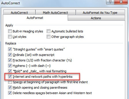 AutoFormat internet and network paths with hyperlinks