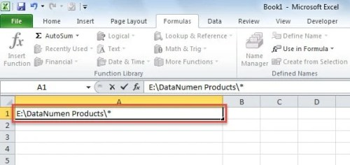 Enter Folder Path in Cell A1