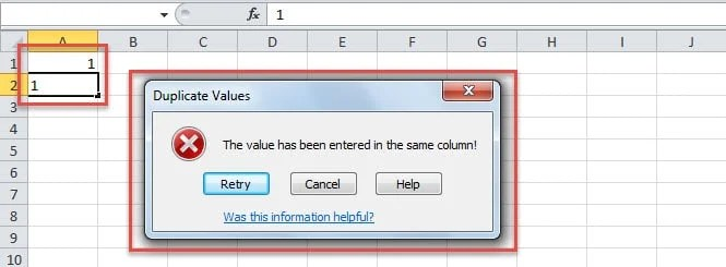 Error in Case of Duplicate Values in a Column