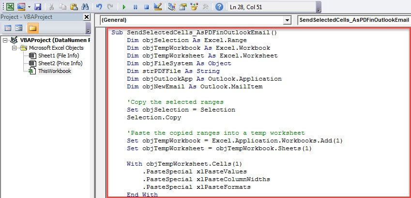 VBA Code - Attach Selected Cells in an Excel Worksheet as PDF File to an Email
