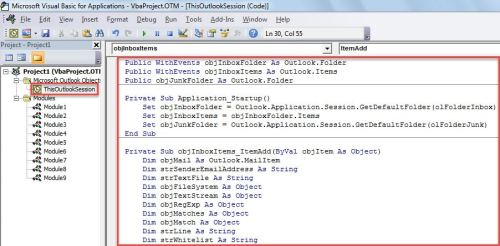 VBA Code - Auto Block Outlook Emails from Those Not In a Whitelist