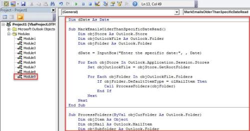 VBA Code - Batch Mark Emails Older Than Specific Date as Read
