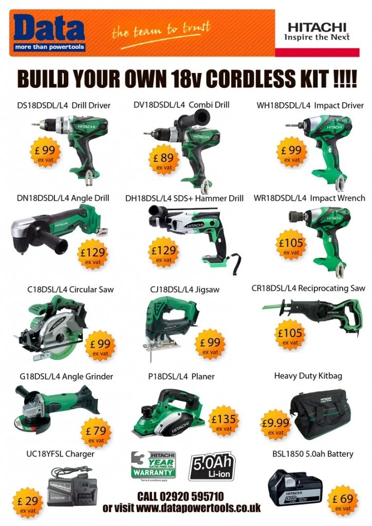 Build Your Own Hitachi Cordless Power Tool Kit Data